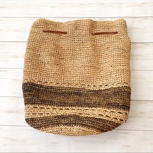 J Crew Woven Straw Bucket Backpack Purse Large